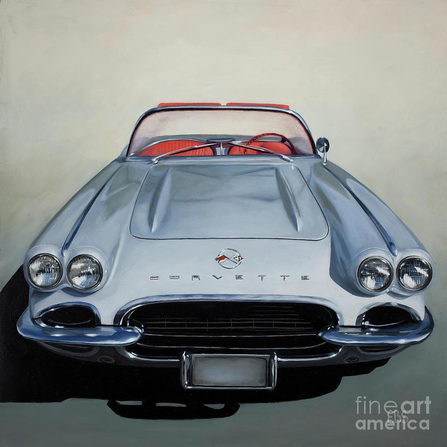 60s Painting - 1962 Silver Corvette by Elaine Brady Smith