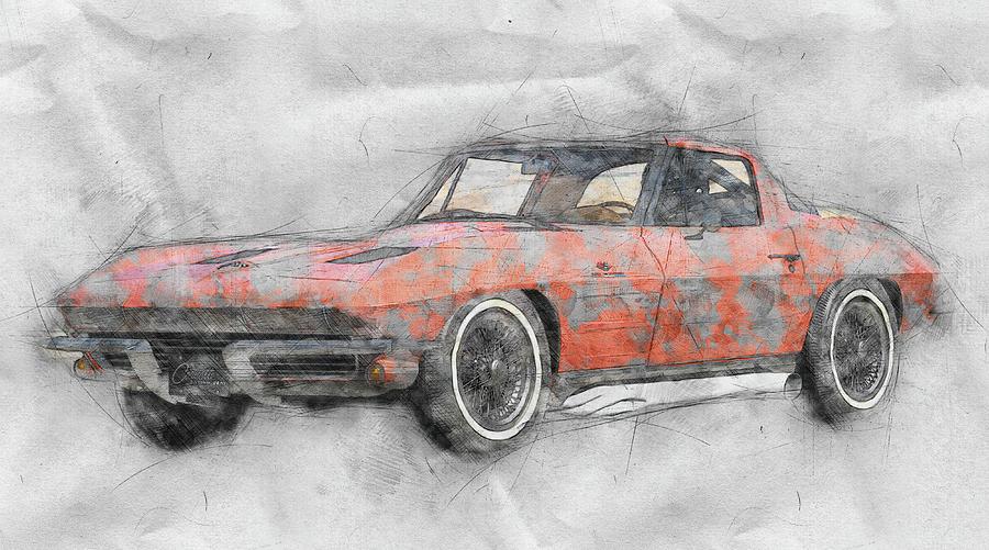 1963 Chevrolet Corvette Sting Ray 1 - 1963 - Automotive Art - Car Posters Mixed Media