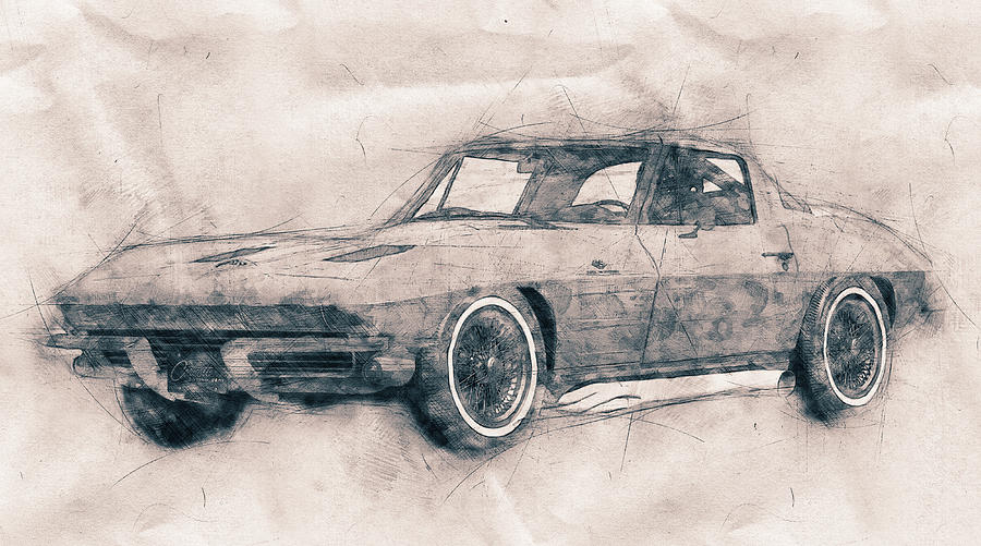 Chevrolet Corvette Mixed Media - 1963 Chevrolet Corvette Sting Ray - 1963 - Automotive Art - Car Posters by Studio Grafiikka