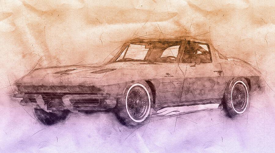 1963 Chevrolet Corvette Sting Ray 2 - 1963 - Automotive Art - Car Posters Mixed Media