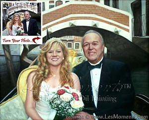 Oil Painting Painting - Commission Wedding Oil Painting Based On Your Photo by Les Moments