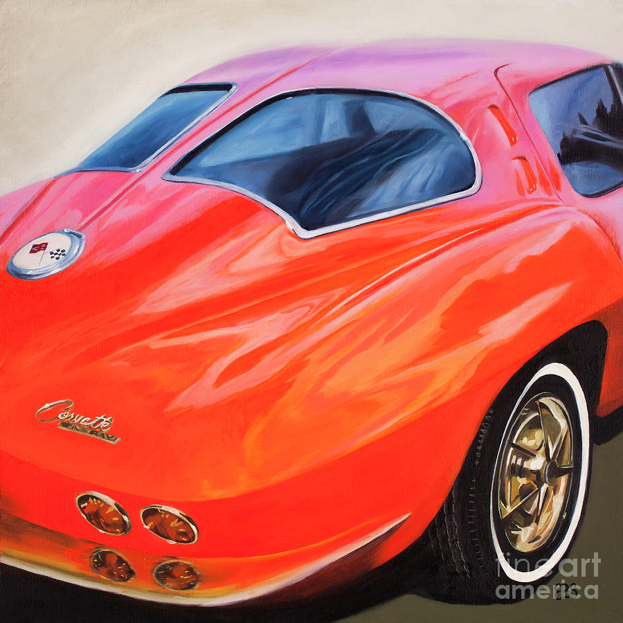 60s Painting - 1963 Red Corvette by Elaine Brady Smith
