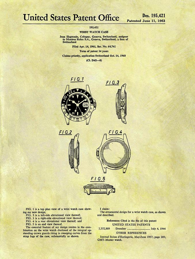 Rolex Drawing - 1963 Rolex Watch Patent by Dan Sproul