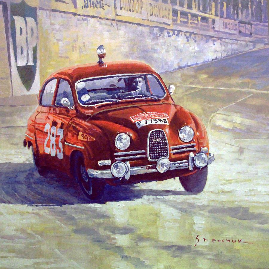Oil Painting - 1963 Saab 96 #283  Rallye Monte Carlo  Carlsson Palm Winner by Yuriy Shevchuk
