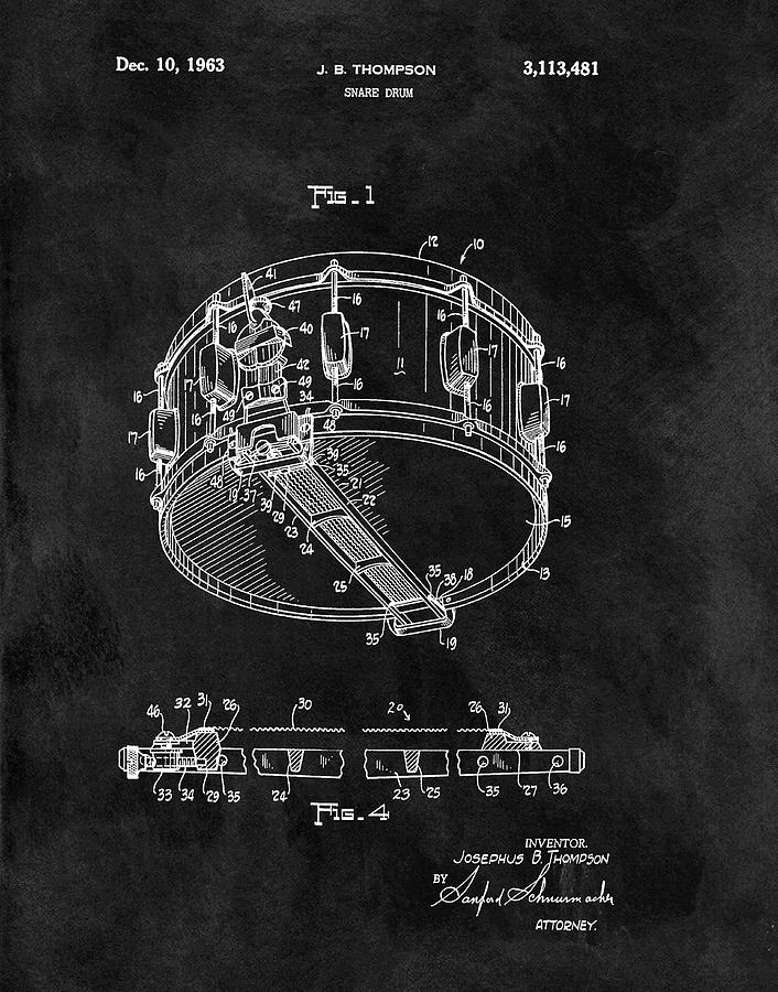 1963 Snare Drum Patent Drawing