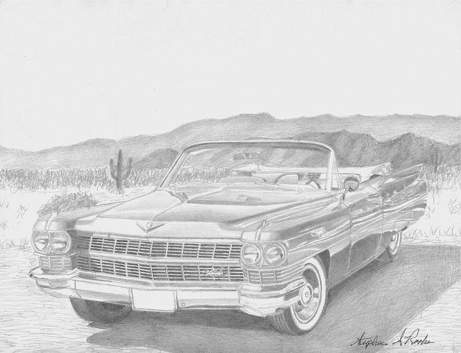 Automotive Drawings Drawing - 1964 Cadillac Series 62 Convertible Classic Car Art Print by Stephen Rooks