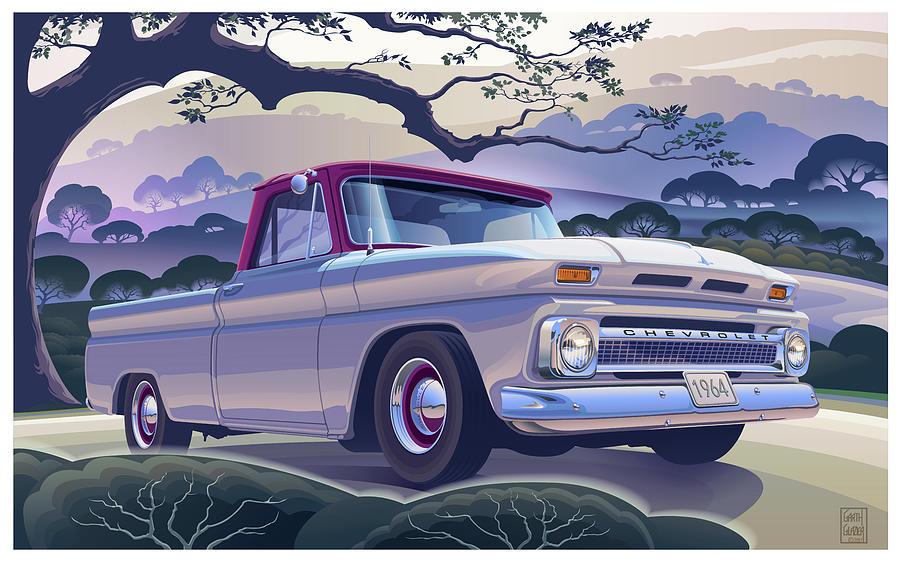 Morning Mist Digital Art - 1964 Chevrolet Short Bed Custom Half Ton In The Morning Mist by Garth Glazier