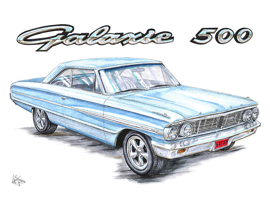 1964 Ford Galaxie 500 Drawing By Shannon Watts