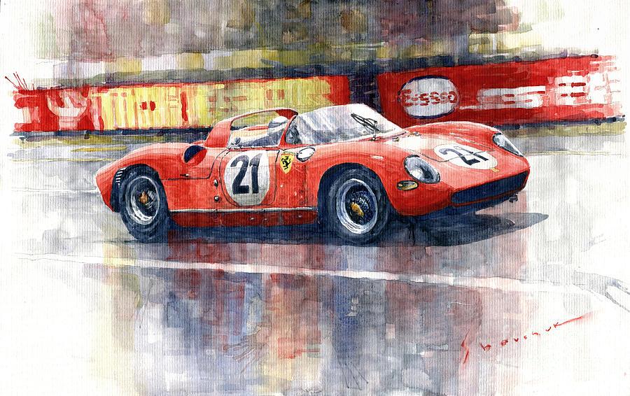 Automotive Painting - 1964 Lemans 24 Ferrari 275p Ludovico Scarfiotti  by Yuriy Shevchuk