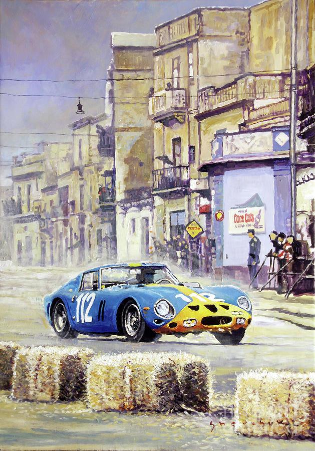 Oil On Canvas Painting - 1964 Targa Florio Ferrari 250 Gto by Yuriy Shevchuk