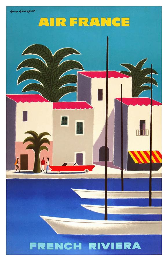 French Air Riviera Beach print Art Vintage Travel canvas