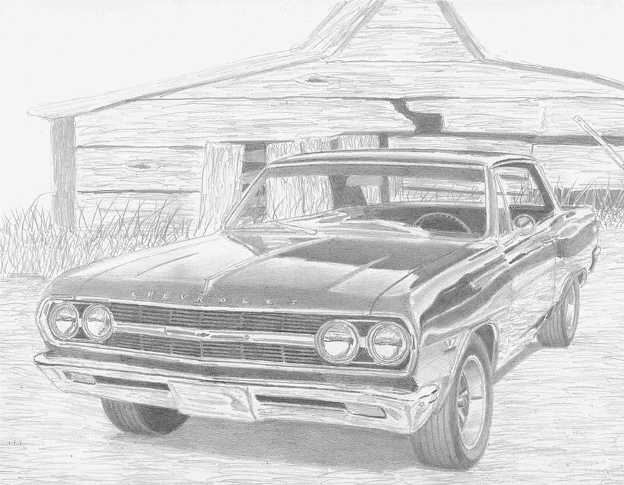 1965 Chevrolet Chevelle Muscle Car Art Print Drawing by Stephen Rooks