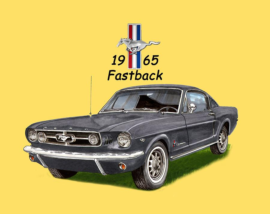 Classic Mustang Art Painting - 1965 Mustang Fastback by Jack Pumphrey