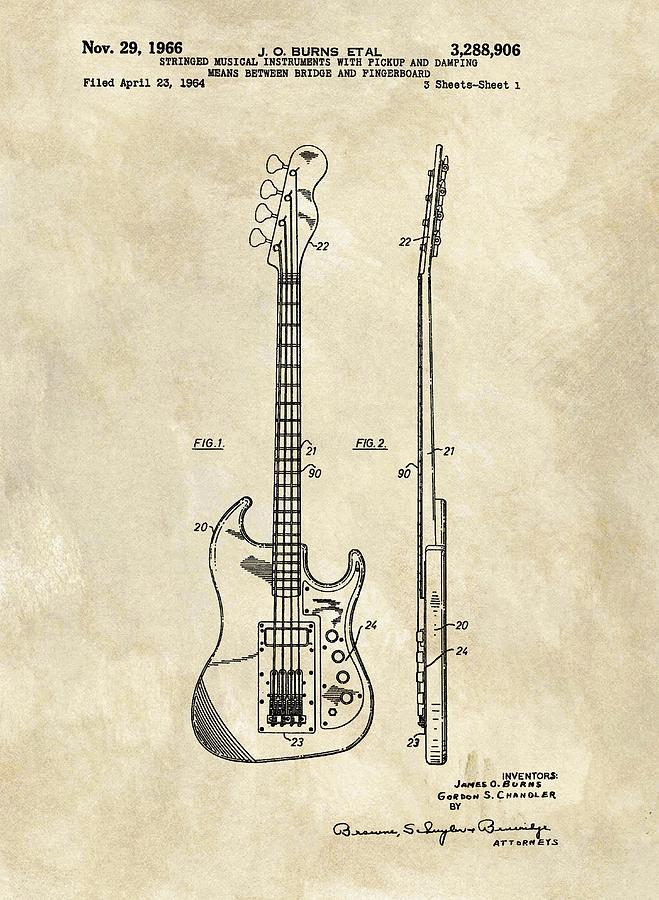 1966 Bass Guitar Patent Drawing By Dan Sproul