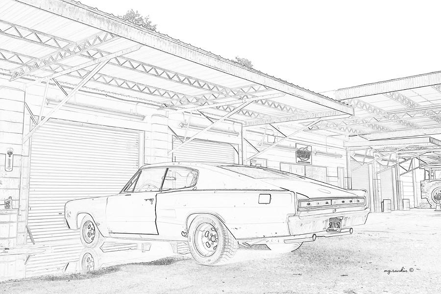 1966 Dodge Charger Sketch Photograph By Michael Rankin