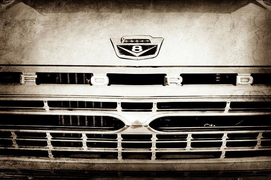 Transportation Photograph - 1966 Ford F100 Pickup Truck Grille Emblem -113s by Jill Reger