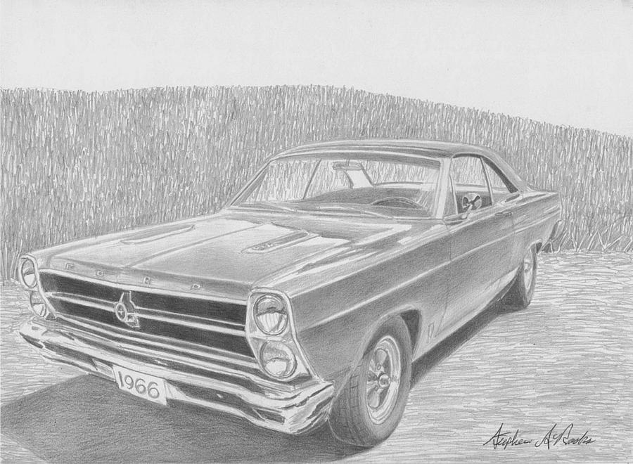 1966 Ford Fairlane Muscle Car Art Print Drawing By Stephen Rooks