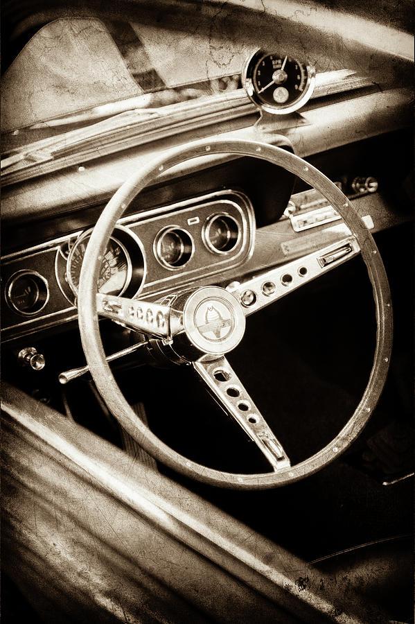Car Photograph - 1966 Ford Mustang Cobra Steering Wheel Emblem -0091s by Jill Reger