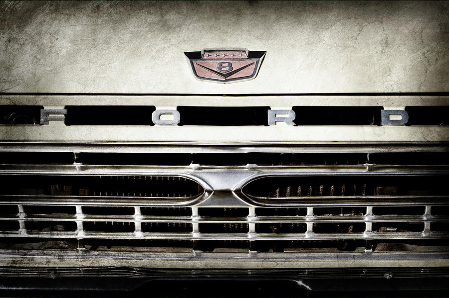 Transportation Photograph - 1966 Ford Pickup Truck Grille Emblem -0154ac by Jill Reger
