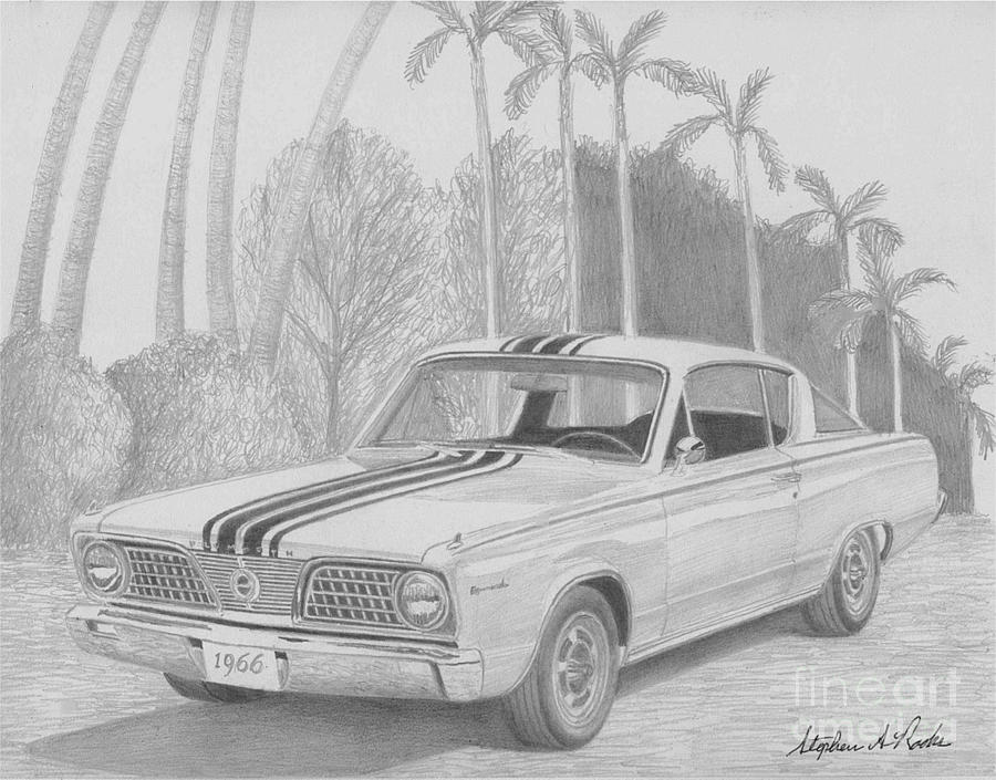 1966 Plymouth Barracuda Classic Car Art Print by Stephen Rooks