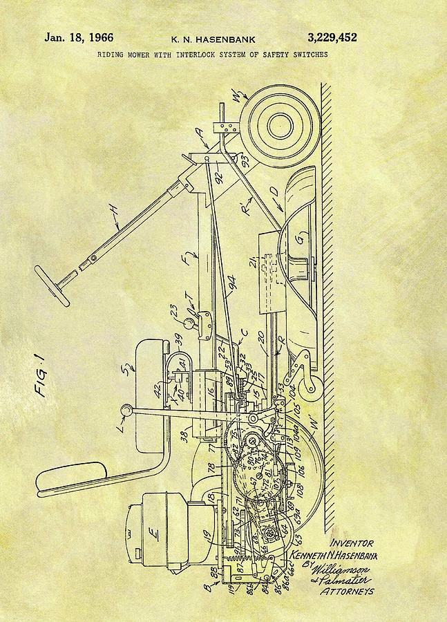 Riding Mower Drawing - 1966 Riding Mower Patent by Dan Sproul