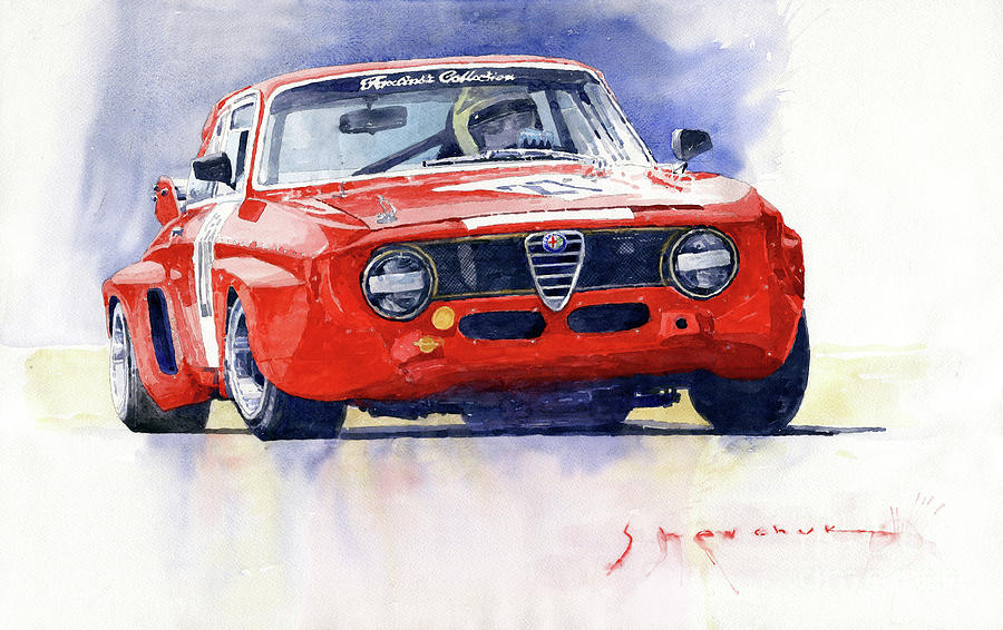 Watercolor Painting - 1967 Alfa Romeo Gta 1600 Groupe 5  by Yuriy Shevchuk