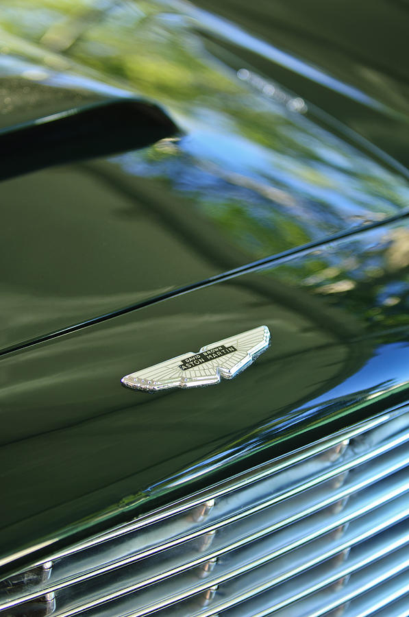 Classic Car Photograph - 1967 Aston Martin Db6 Coupe Hood Emblem by Jill Reger