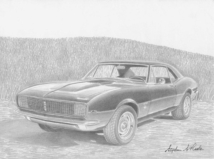 1967 Chevrolet Camaro Rs Classic Car Art Print Drawing by Stephen Rooks