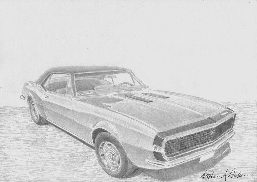 1967 Chevrolet Camaro Ss Rs Classic Car Art Print Drawing By