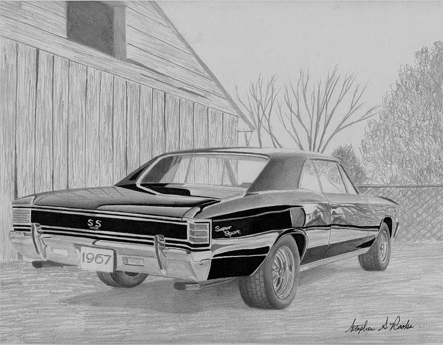 1967 Chevrolet Chevelle Ss Rear View Muscle Car Art Print Drawing By