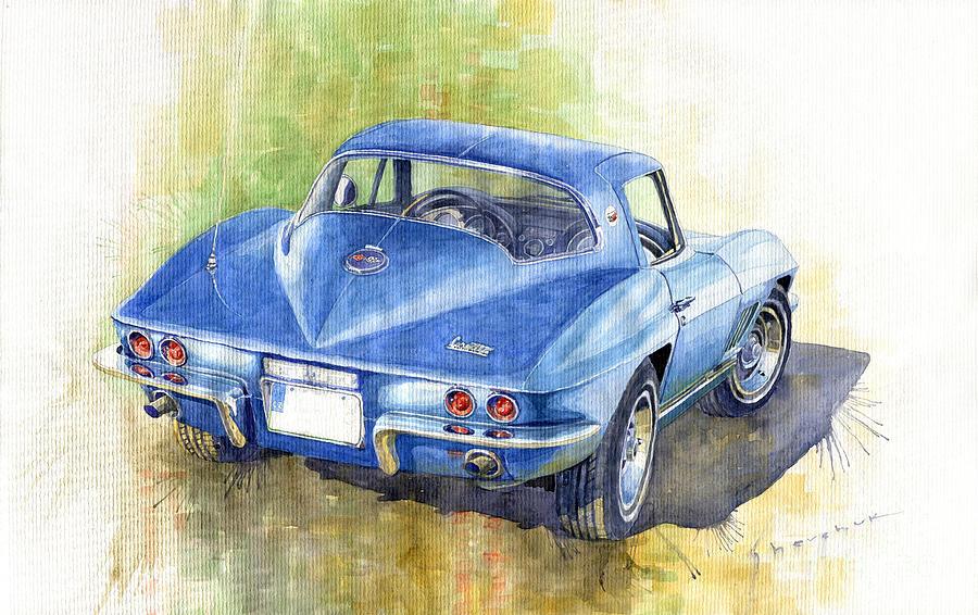 Watercolor Painting - 1967 Chevrolet Corvette C2 Stingray  by Yuriy Shevchuk
