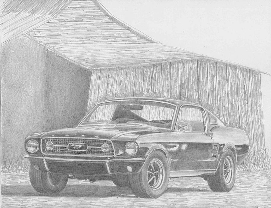 1967 Ford Mustang Fastback Classic Car Art Print Drawing