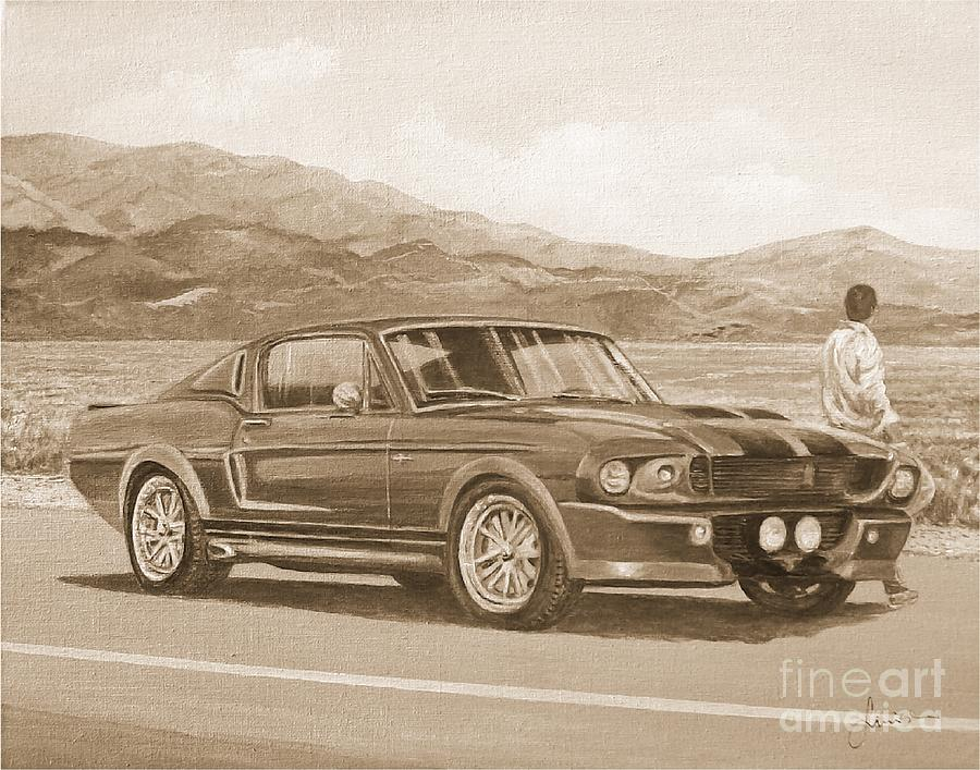 1967 Ford Mustang Fastback In Sepia by Sinisa Saratlic