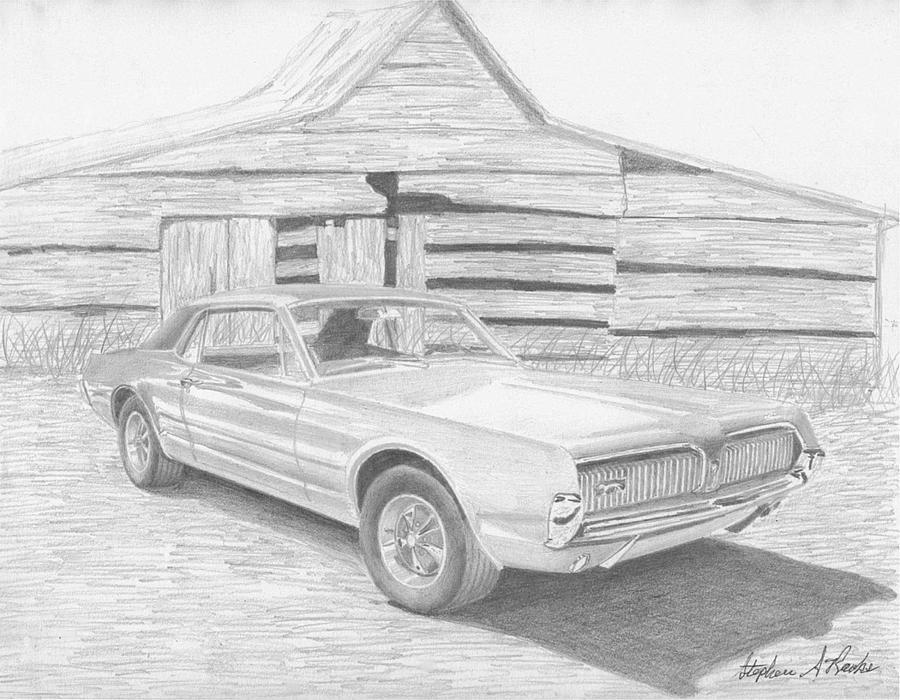 1967 Mercury Cougar Classic Car Art Print Drawing by Stephen Rooks