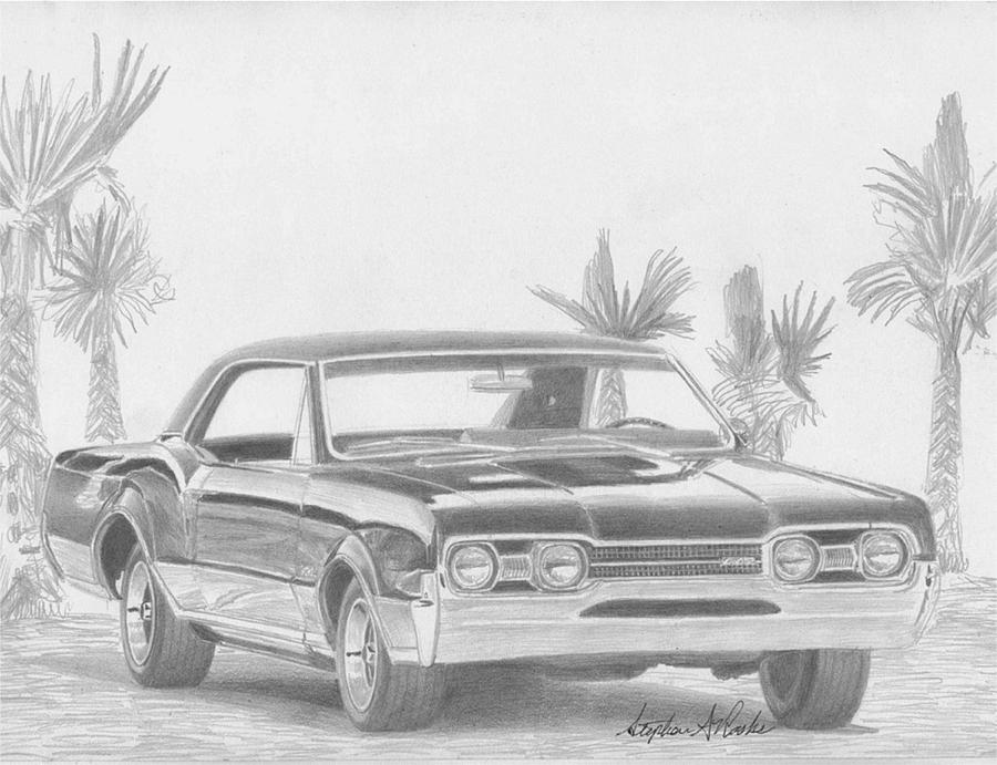 1967 Oldsmobile Cutlass 442 Muscle Car Art Print Drawing by Stephen ...