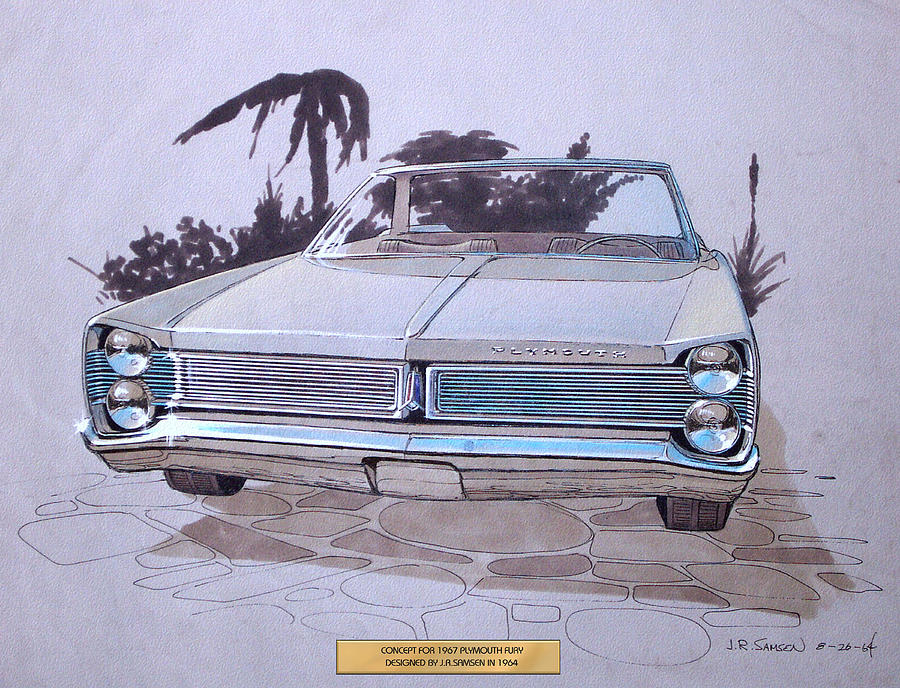 Car Concepts Drawing - 1967 Plymouth Fury  Vintage Styling Design Concept Rendering Sketch by John Samsen