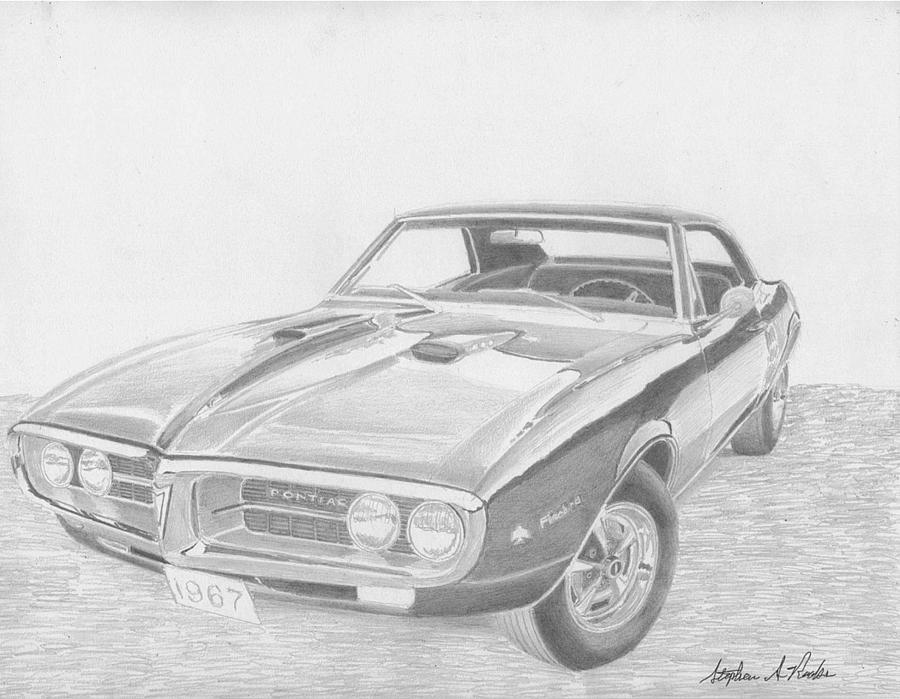 1967 Pontiac Firebird 400 Classic Car Art Print Drawing by Stephen Rooks