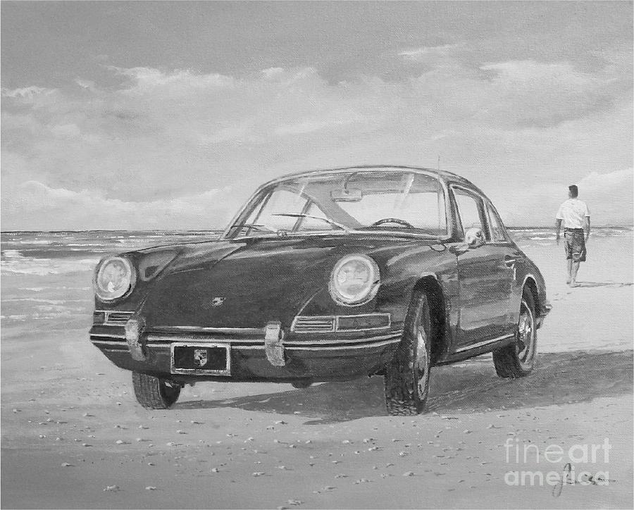 1967 Porsche 912 In Black And White by Sinisa Saratlic