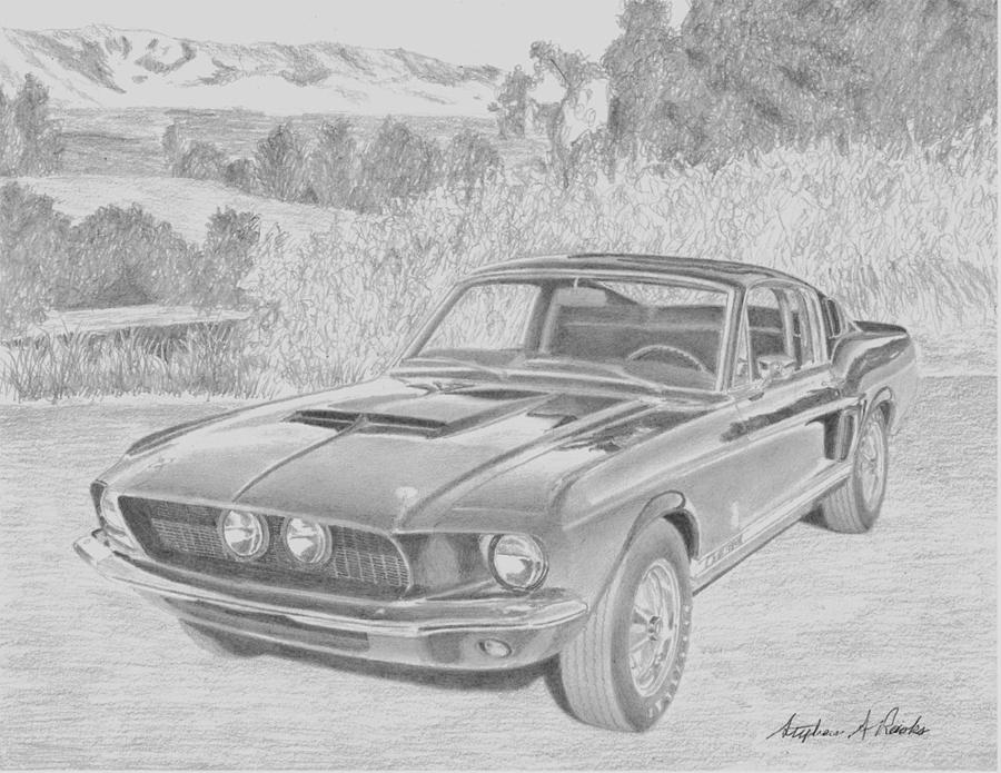 1967 Shelby Mustang Gt-350 Car Art Print Drawing by Stephen Rooks