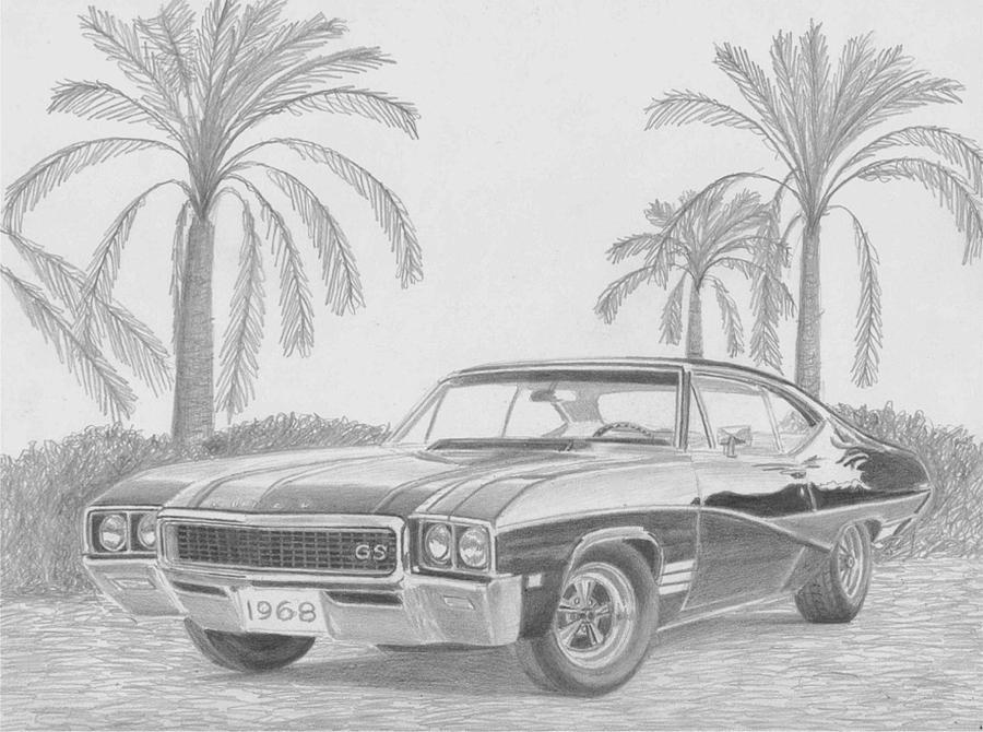1968 Buick Skylark Gs Muscle Car Art Print Drawing by Stephen Rooks