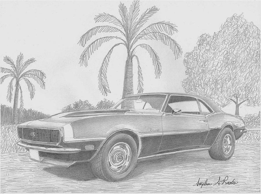 1968 Chevrolet Camaro Ssrs Classic Car Art Print Drawing By
