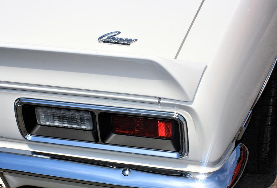 Auto Photograph - 1968 Chevy - Chevrolet Camaro Tail Lights And Logo by WHBPhotography Wallace Breedlove