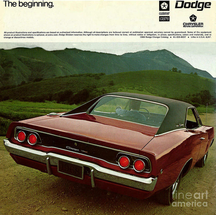 Classic photograph 1968 dodge charger brochure p 12 by r muirhead art