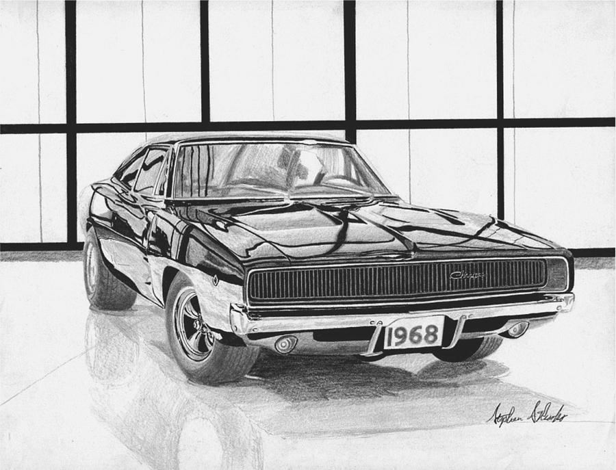 1968 dodge charger muscle car art print mixed media by