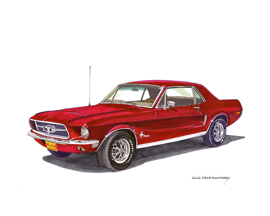 1968 Ford Mustang Coupe Painting By Jack Pumphrey
