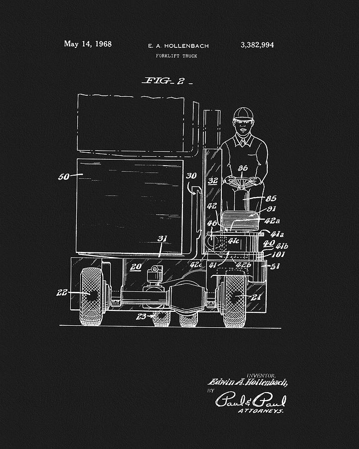 Industrial Lift Drawing - 1968 Forklift Patent by Dan Sproul