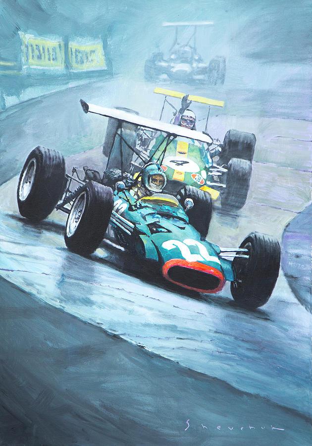 Oil Painting - 1968 German Gp Nurburgring  by Yuriy Shevchuk