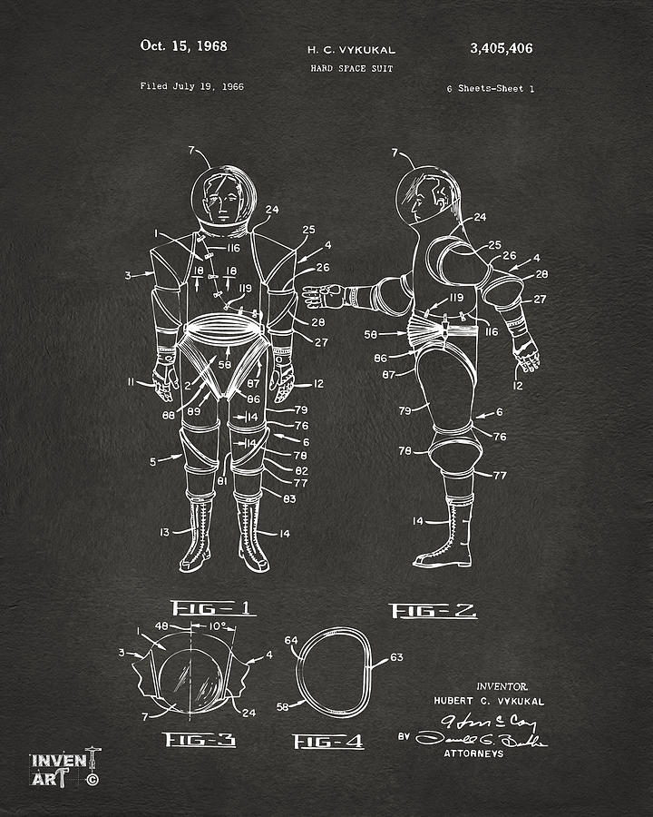 Space Suit Digital Art - 1968 Hard Space Suit Patent Artwork - Gray by Nikki Marie Smith