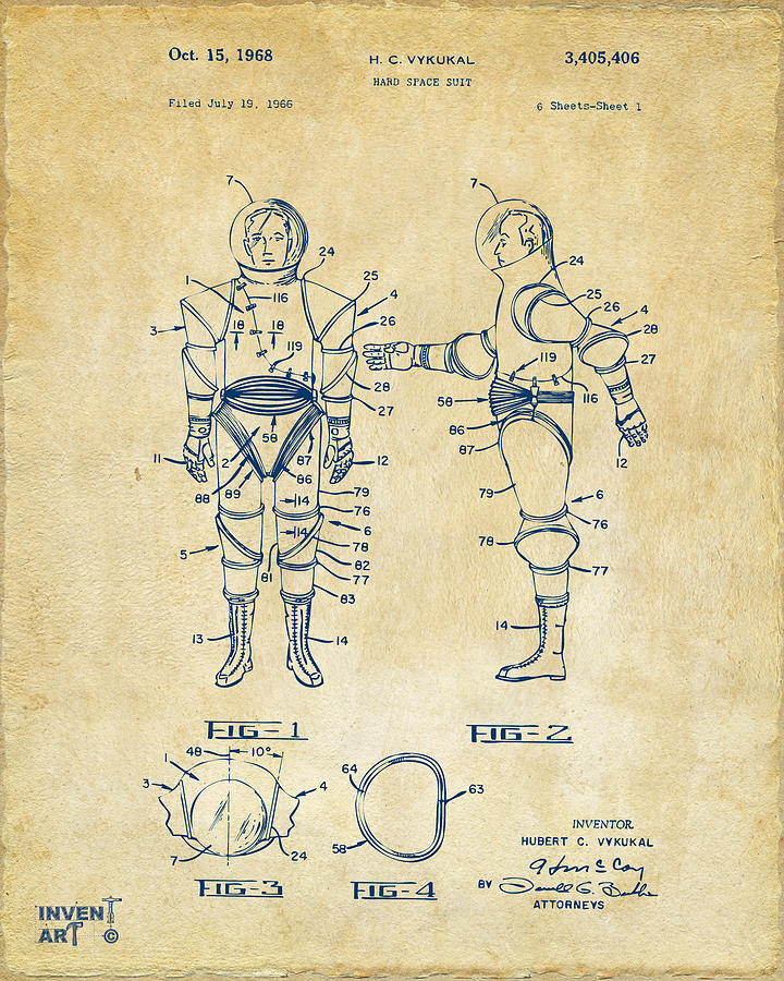 Space Suit Digital Art - 1968 Hard Space Suit Patent Artwork - Vintage by Nikki Marie Smith