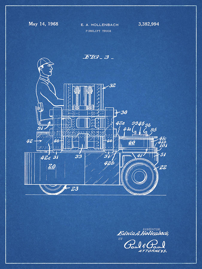 Industrial Lift Mixed Media - 1968 Lift Truck Patent by Dan Sproul